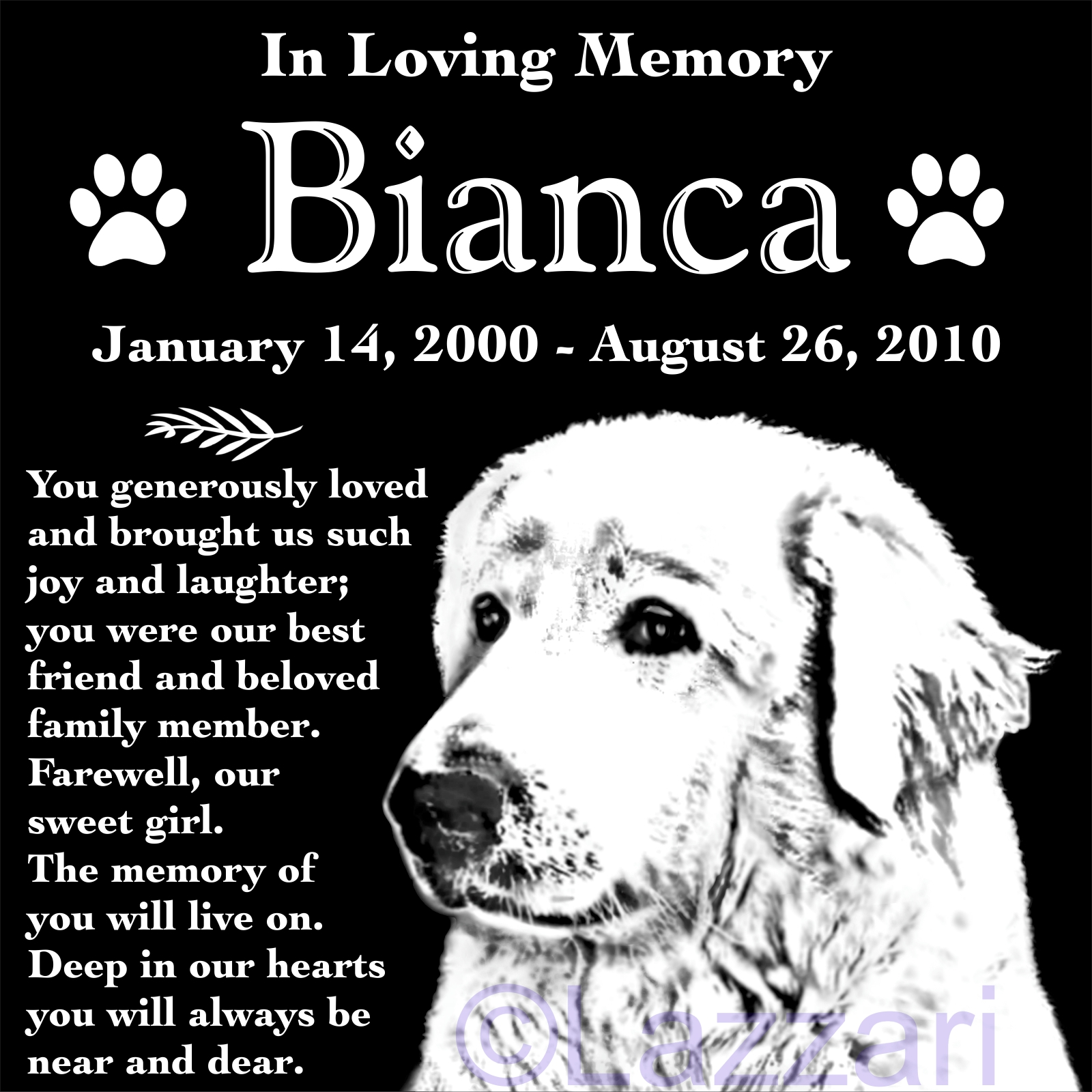 Details About Personalized Great Pyrenees Dog Pet Memorial 12 Granite Grave Marker Headstone