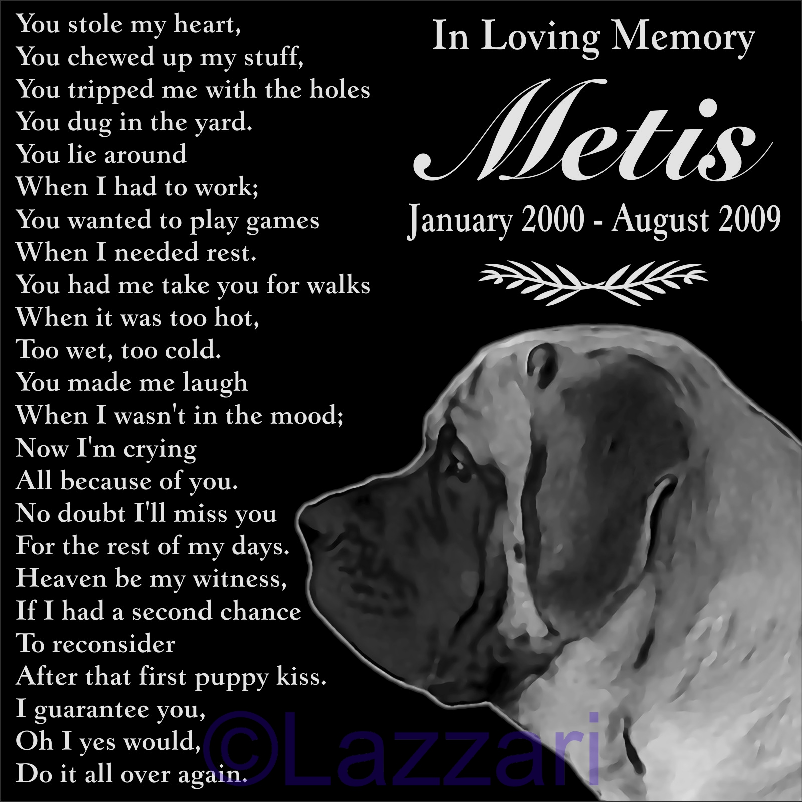 Details About Personalized English Mastiff Pet Memorial 12x12 Granite Grave Marker Headstone