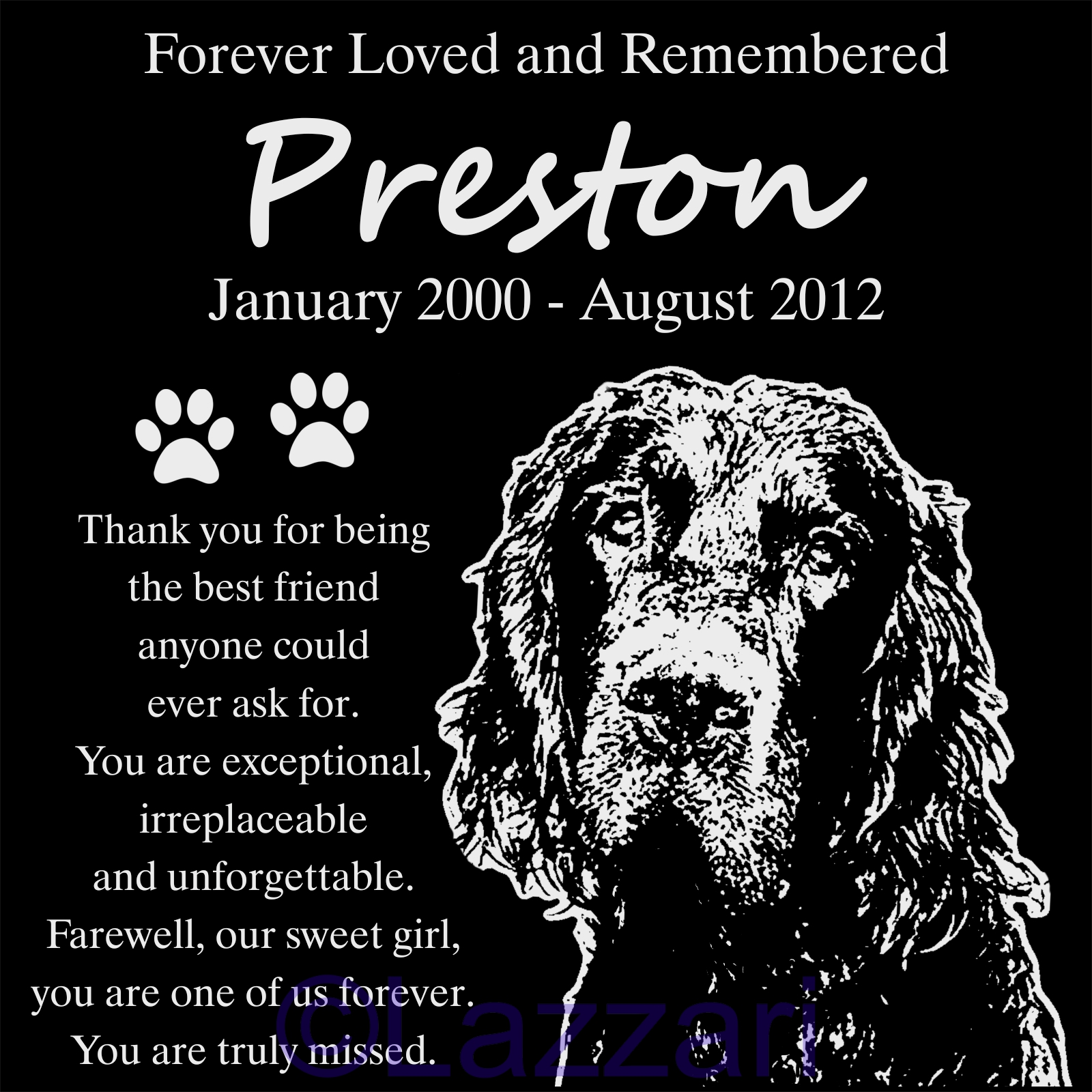 Details About Personalized Gordon Setter Dog Pet Memorial 12x12 Granite Grave Marker Headstone